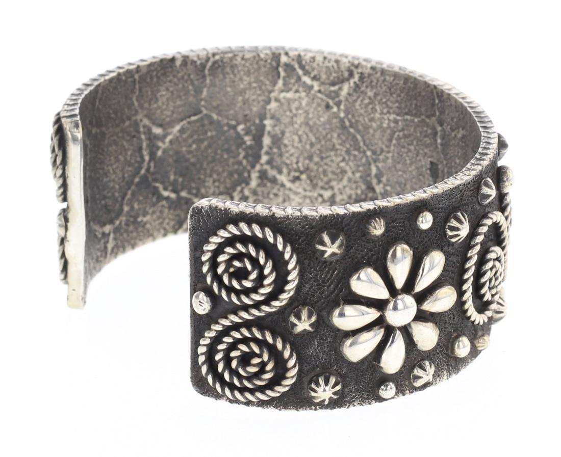 Ernest Rangel Tufa Cast Flower Blossom Cuff Bracelet - 2