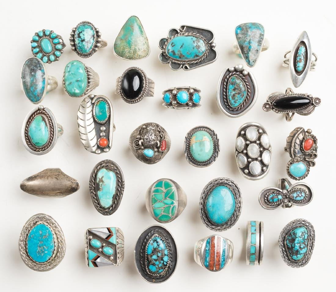 Vintage & Old Pawn Mixed Turquoise & Coral Ring Lot of