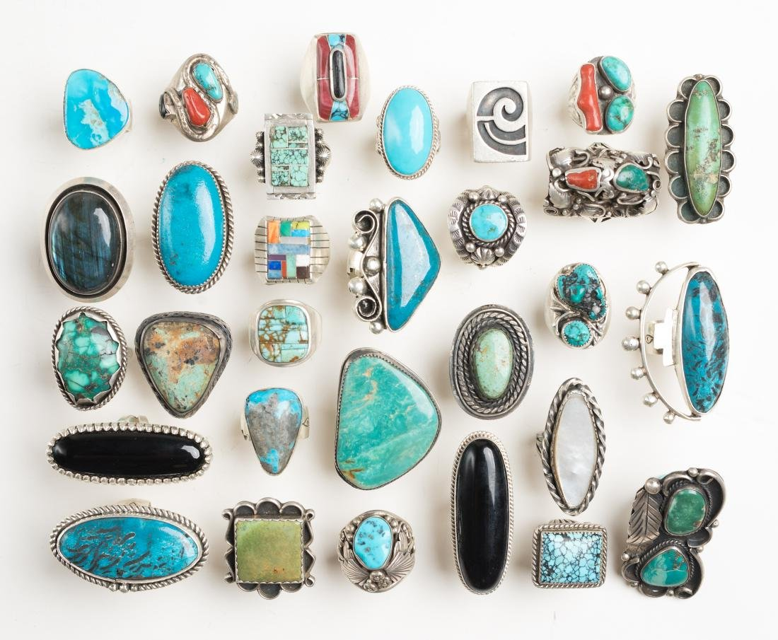Vintage & Contemporary Mixed Turquoise & Coral Ring Lot