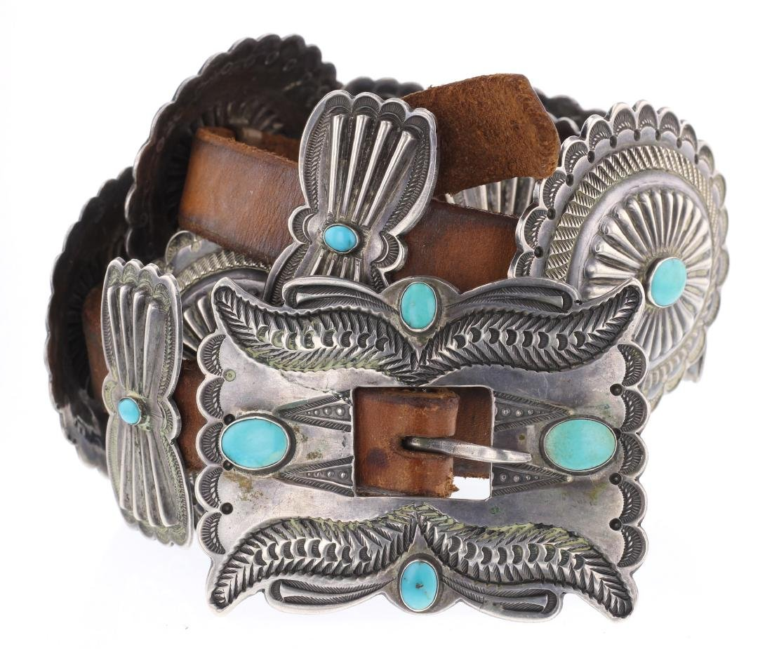 Old Pawn Turquoise Heavy Stamp Overlay Concho Belt