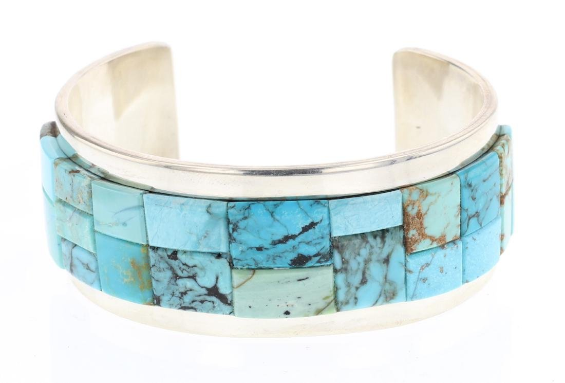 Tommy Jackson  Turquoise Cobble Stone Inlay Cuff