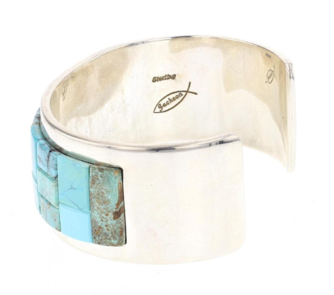 Tommy Jackson  Turquoise Cobble Stone Inlay Cuff - 2