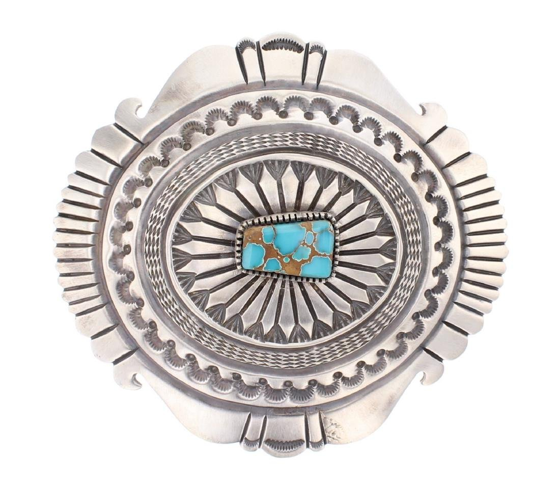 Kingman Turquoise Heavy Stamp Contemporary Belt Buckle