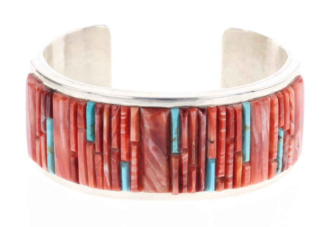 V. Benally Spiny Oyster & Turquoise Cobble Stone Inlay