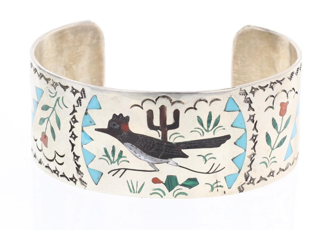 SE Zuni Multi Stone Roadrunner Vintage Inlay Cuff