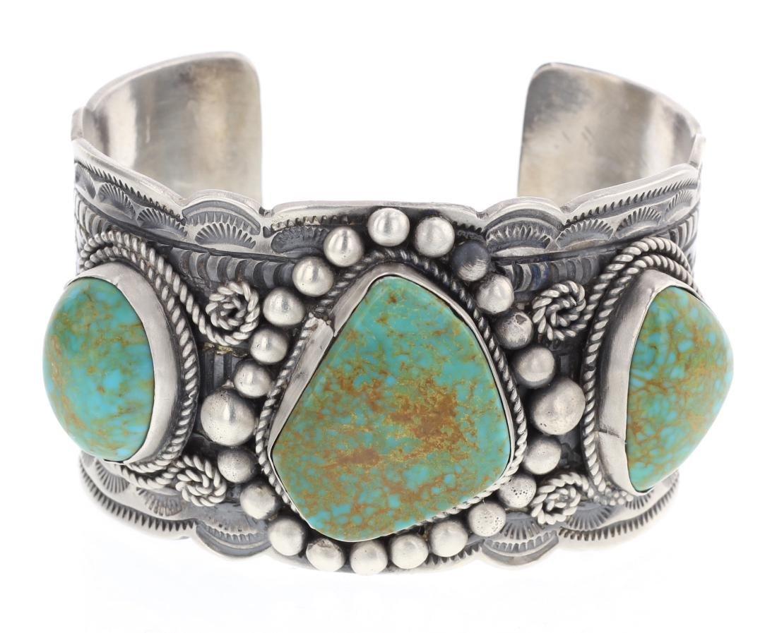 Tillie Jon Large Turquoise Heavy Stamp Cuff Bracelet