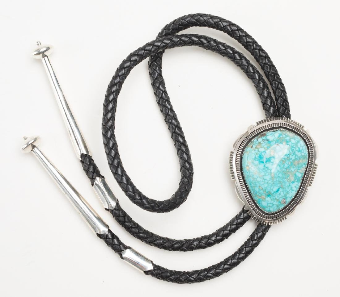 Water Web Kingman Turquoise Large Stone Bolo Tie