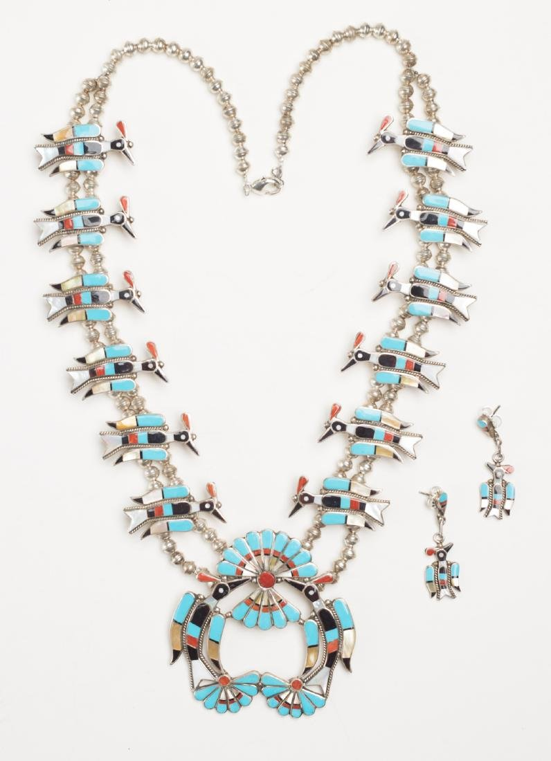 Linette Laiwakete Zuni Multi Stone Inlay Bird Blossom