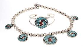 Old Pawn Crushed Turquoise  Coral Inlay Necklace