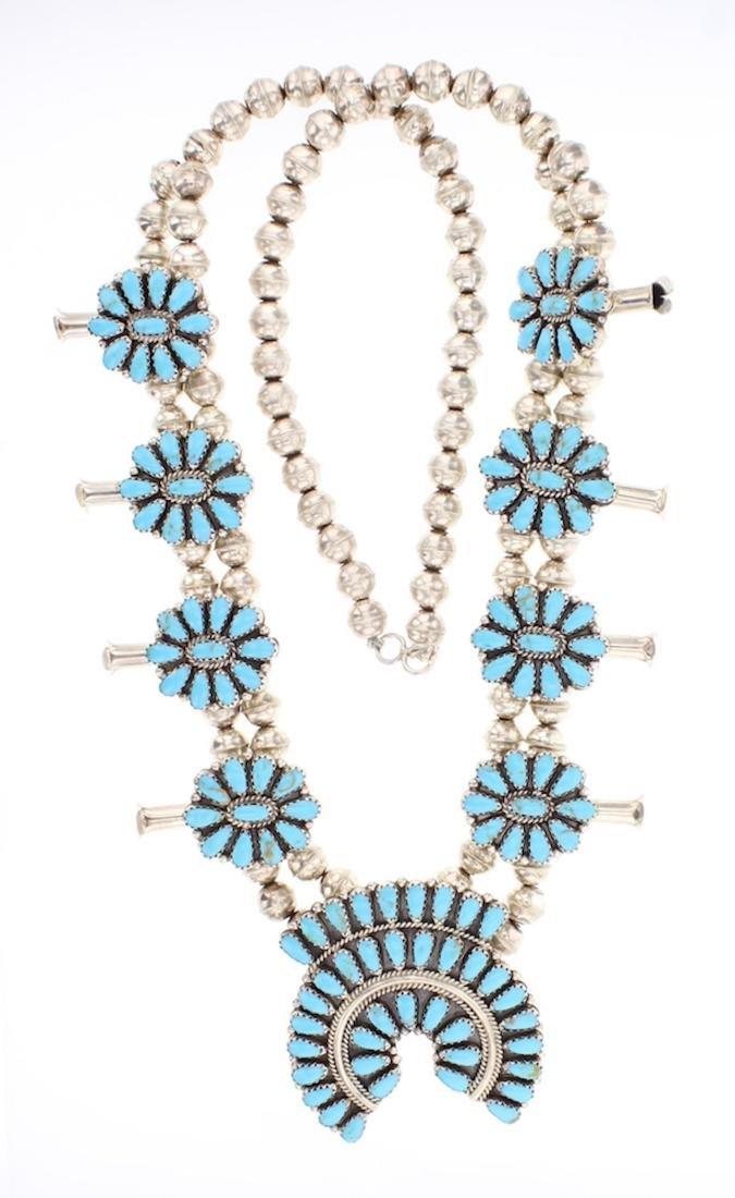 Betsy Begay Nez Vintage Block Turquoise Squash Blossom