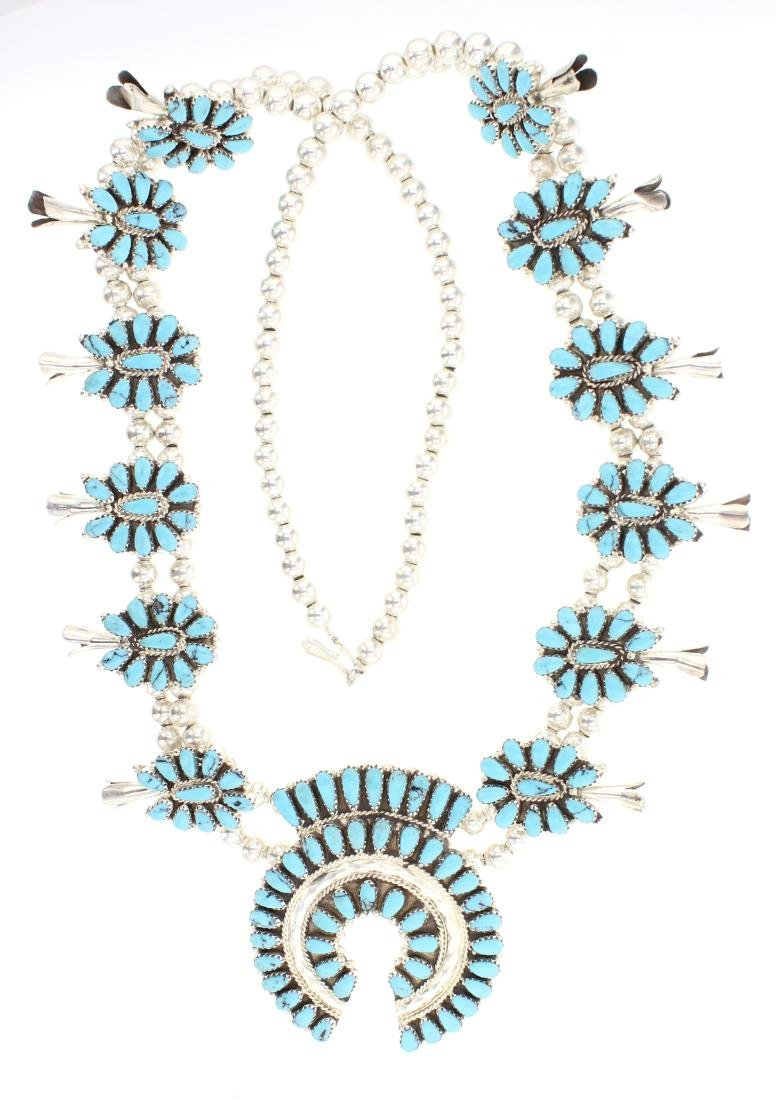 TB Block Turquoise Cluster Squash Blossom Necklace