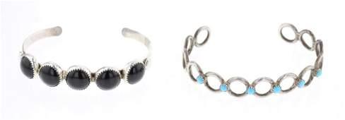 Vintage Turquoise  Black Onyx Cuff Bracelet  Lot of