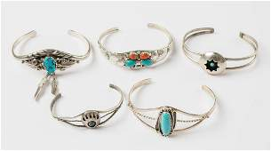 Turquoise & Coral Vintage Cuff Bracelet Lot of Five