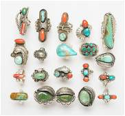 Old Pawn Vintage Turquoise & Coral Ring Lot of 20 Rings