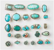 Turquoise & Coral Old Pawn Ring Lot of 25 Rings