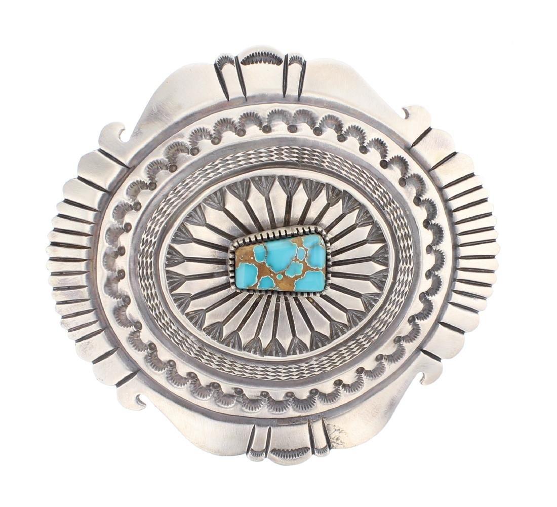 Kingman Turquoise Heavy Stamp Belt Buckle