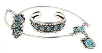 Turquoise Leaf  Flower Cuff Bracelet  Necklace  Ring