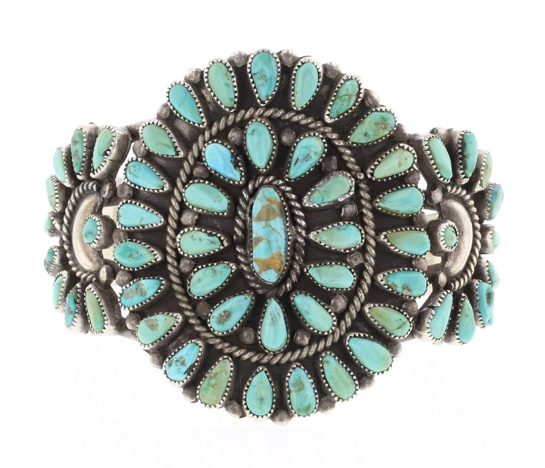 Old Pawn Turquoise Original Cluster Cuff Bracelet