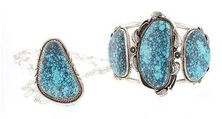 Spiderweb Turquoise Vintage Cuff Bracelet & Pendant
