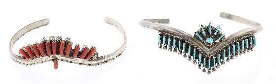 Turquoise  Coral Needlepoint Zuni Cuff Bracelet  Lot
