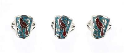 Lenora Silversmith Begay Crushed Turquoise  Coral Ring