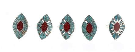 Lenora Silversmith Begay Crushed Turquoise  Coral
