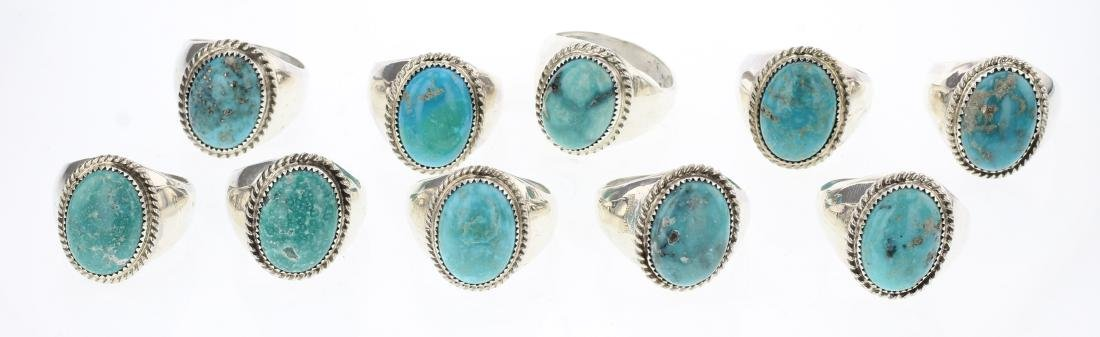Tom Hasteen Turquoise Rings Lot of 10