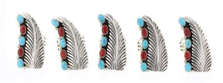 Lenora Silversmith Begay Turquoise  Coral Ring Lot of