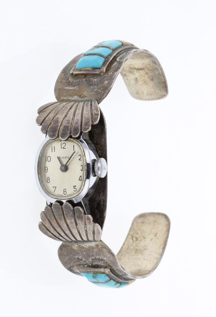 Old Pawn Inlay Turquoise Watch Cuff Bracelet