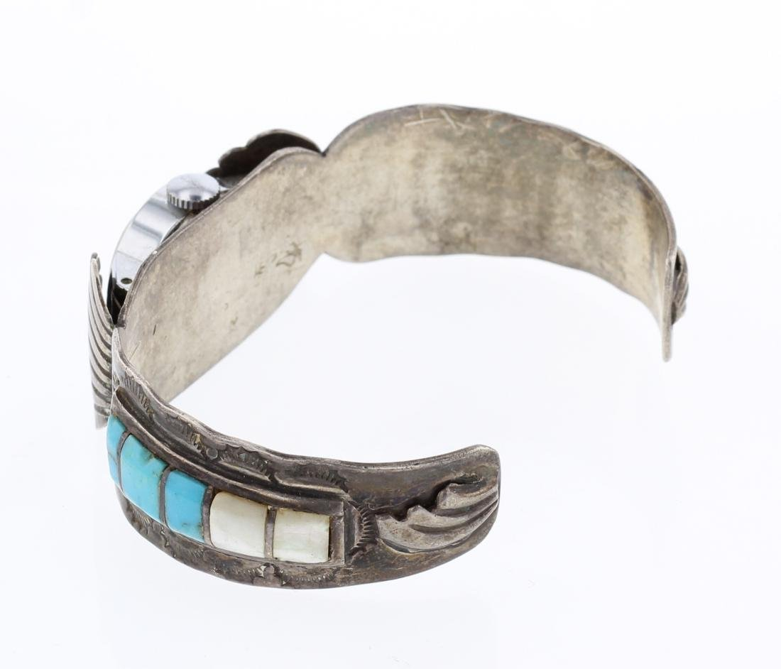 Old Pawn Inlay Turquoise Watch Cuff Bracelet - 2