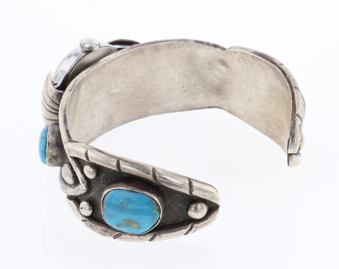 Vintage Turquoise Watch Cuff Bracelet - 2