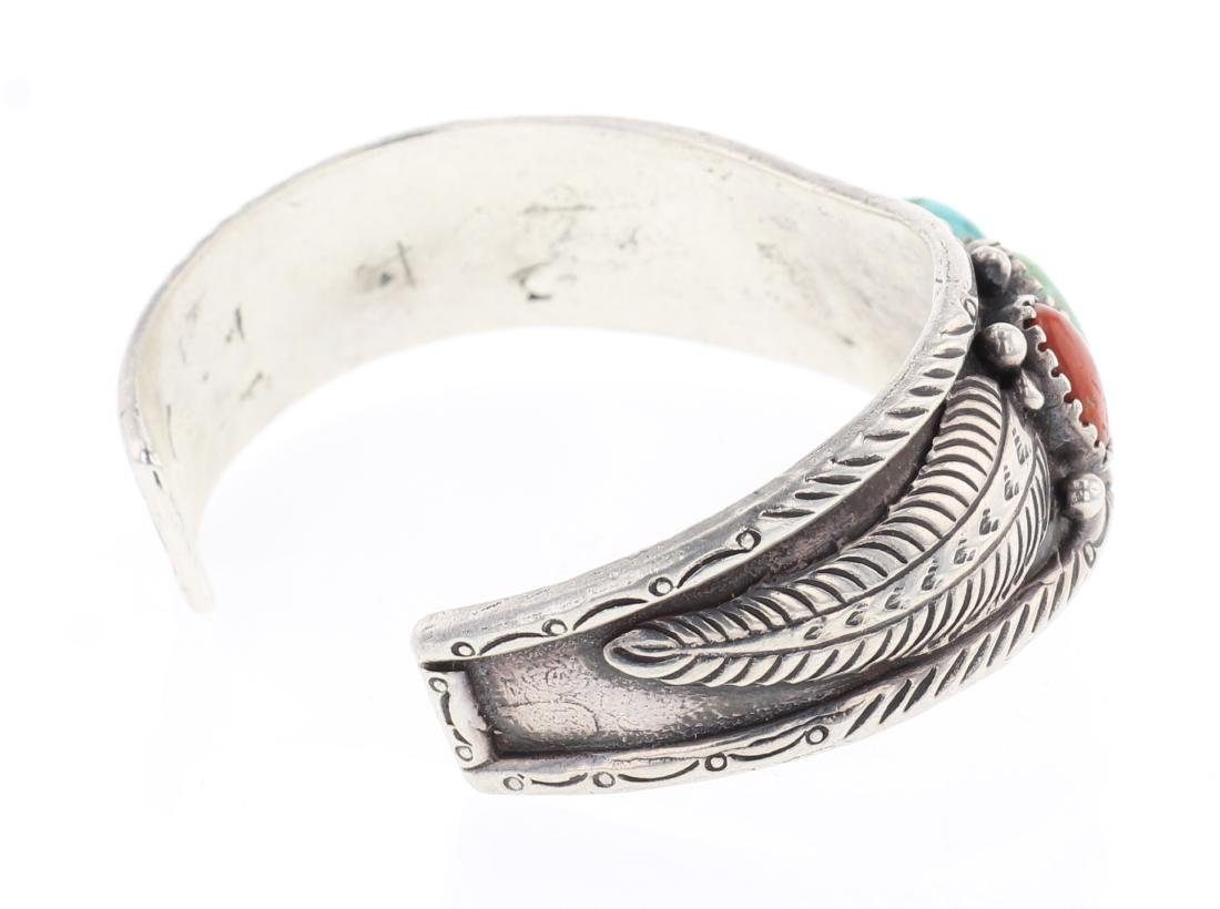 Vintage Turquoise & Coral Bracelet - 2