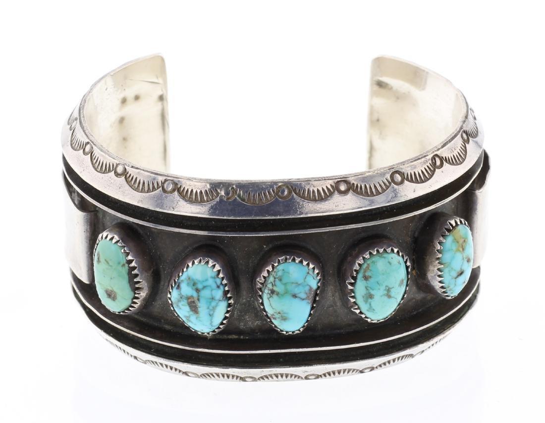 Alice Sam Vintage Turquoise Row Cuff Bracelet