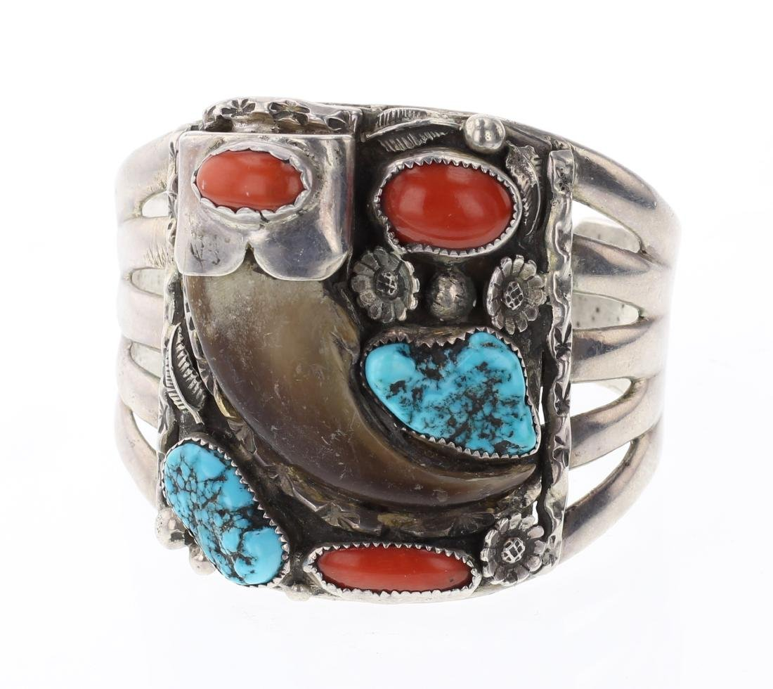 Old Pawn Turquoise & Coral Bear Claw Bracelet