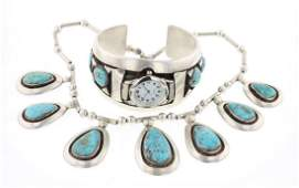 Riveras Old Pawn Turquoise Watch Bracelet  Necklace