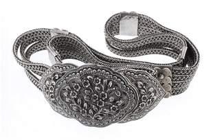 Vintage Full Silver Concho Belt with Flower Belt Buckle