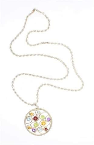 Vintage Multi Gem Stone Silver Pendant Necklace