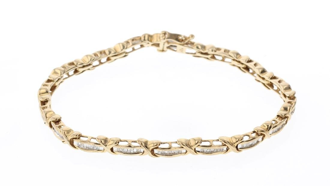 Vintage 14K Gold & Diamonds Link Bracelet