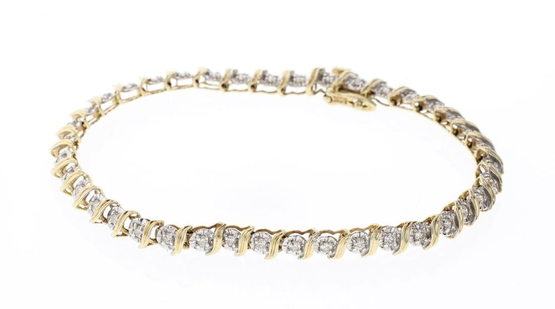 Vintage 14K Gold & Diamonds Link Bracelet