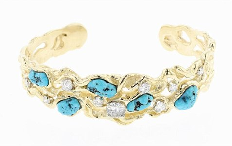 Vintage 14K Gold Diamonds & Turquoise Bracelet