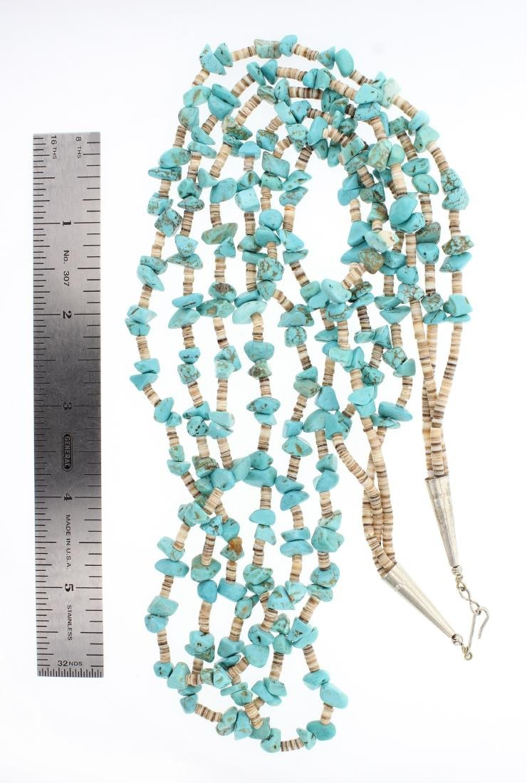 Old Pawn Turquoise Heishe Multi Strand Necklace - 2