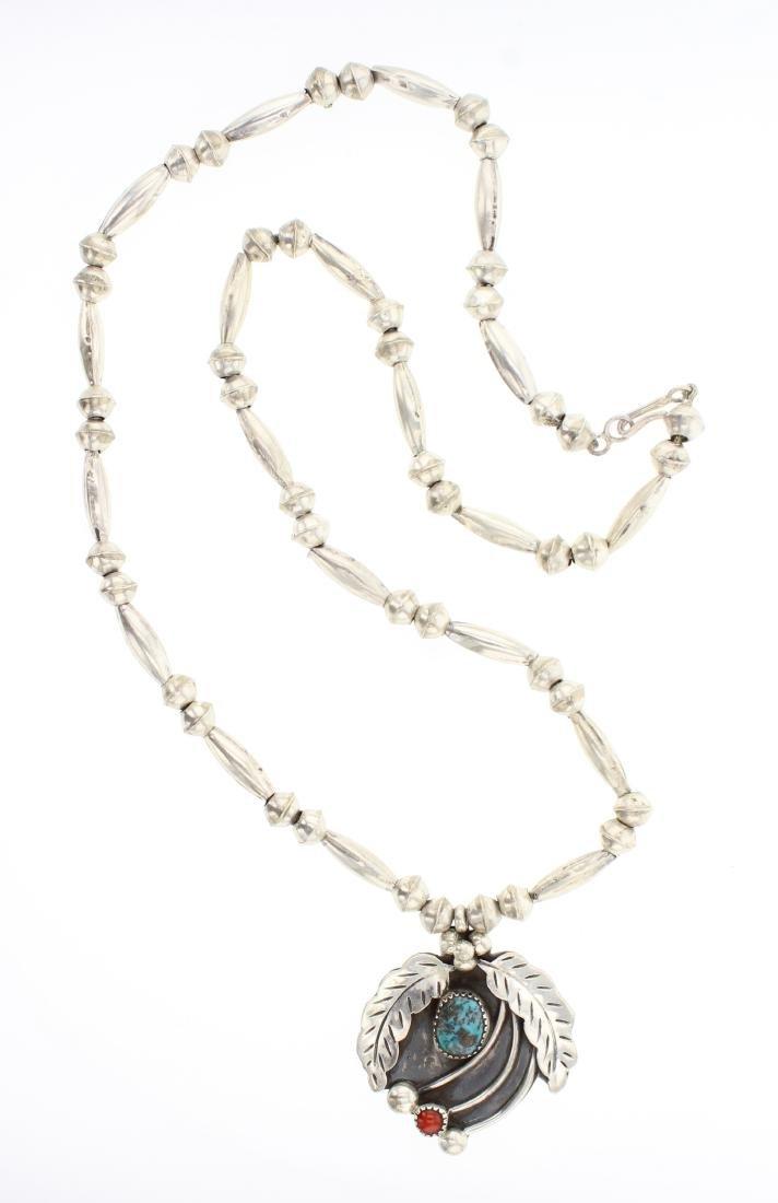 Vintage Turquoise & Coral Leaf Necklace