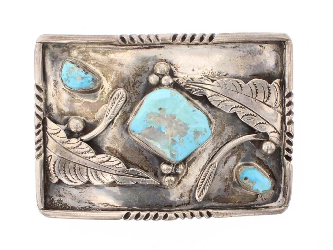 Old Pawn Turquoise Leaf Belt Buckle