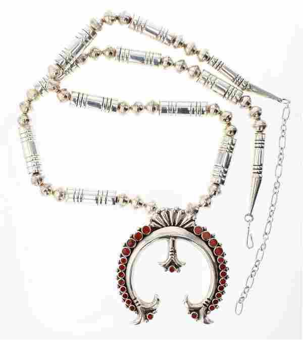 Vintage Coral Inlay Naja & Barrel Bead Necklace