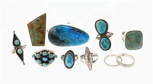 Old Pawn & Vintage Turquoise & Pink Shell Rings Large