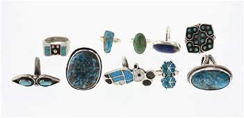 Old Pawn & Vintage Turquoise & Lapis Rings Large