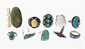 Old Pawn & Vintage Turquoise & Coral Rings Large