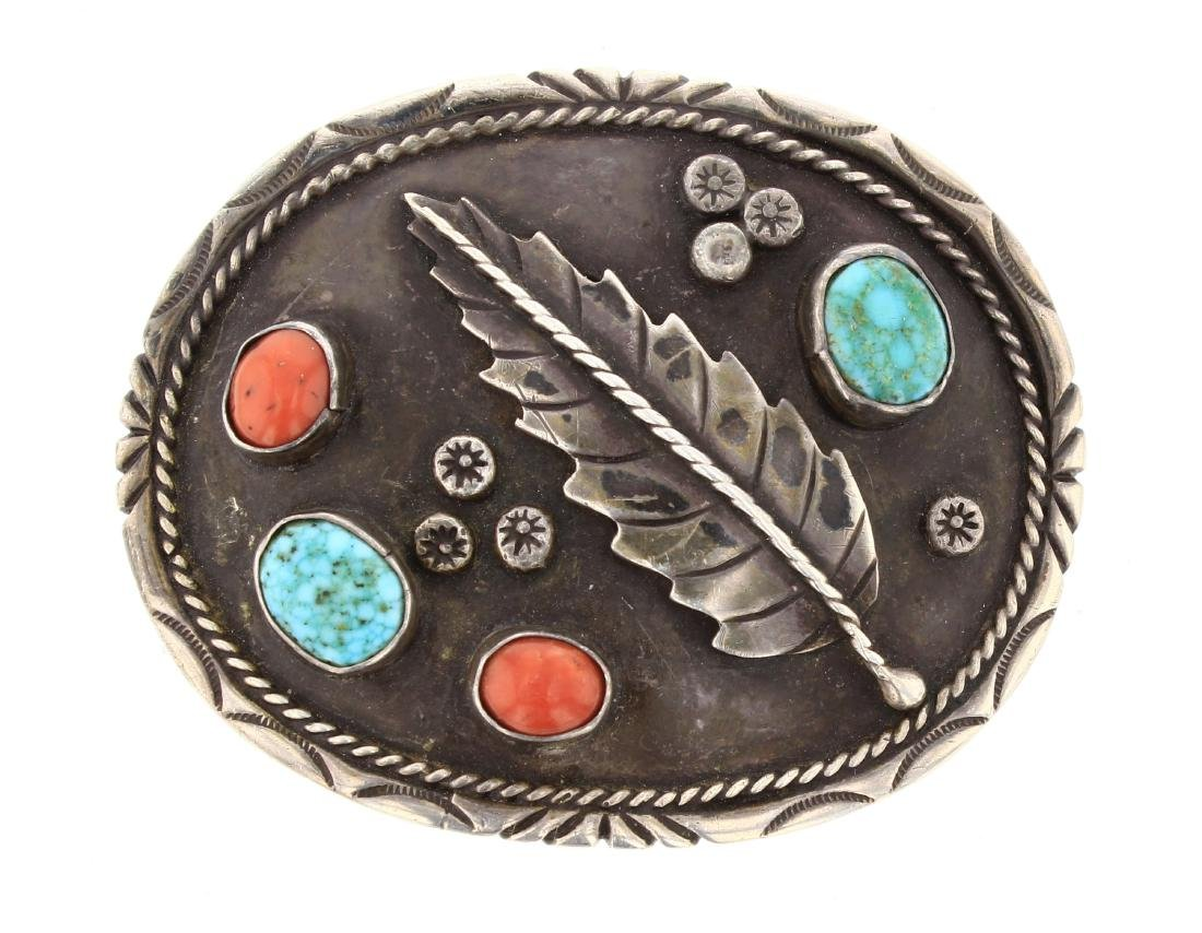 M-J Old Pawn Turquoise & Coral Leaf Belt Buckle