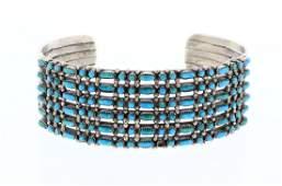 Old Pawn Turquoise Petite Point Original Row Bracelet