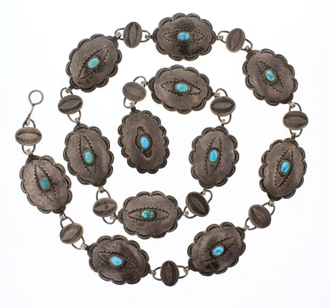 Old Pawn Antique Turquoise Concho Belt